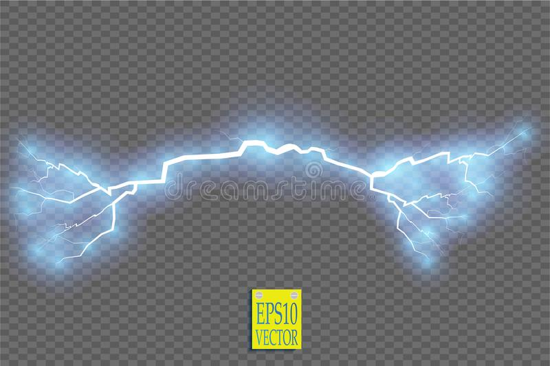 Blue abstract energy shock explosion special light effect with spark. Vector glow power lightning cluster. Electric. Discharge on transparent background. High stock illustration