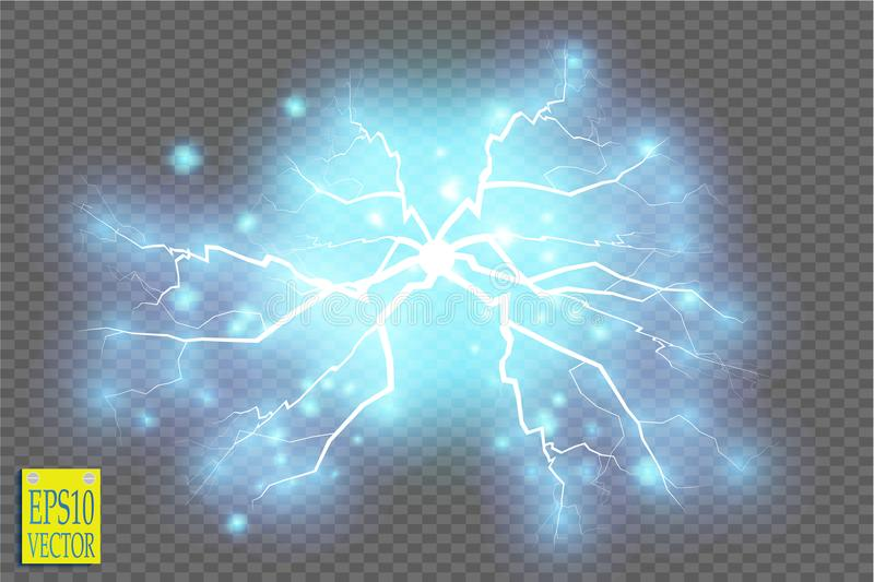 Blue abstract energy shock explosion special light effect with spark. Vector glow power lightning cluster. Electric. Discharge on transparent background. High vector illustration