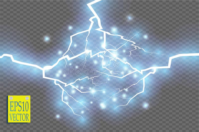 Blue abstract energy shock explosion special light effect with spark. Vector glow power lightning cluster. Electric vector illustration