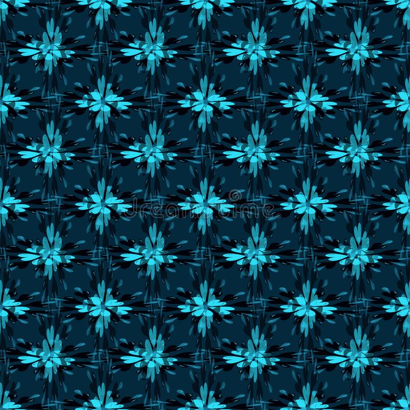 Blue abstract flowers on dark background seamless pattern illustration. Blue abstract flowers on dark background seamless pattern quality illustration royalty free illustration