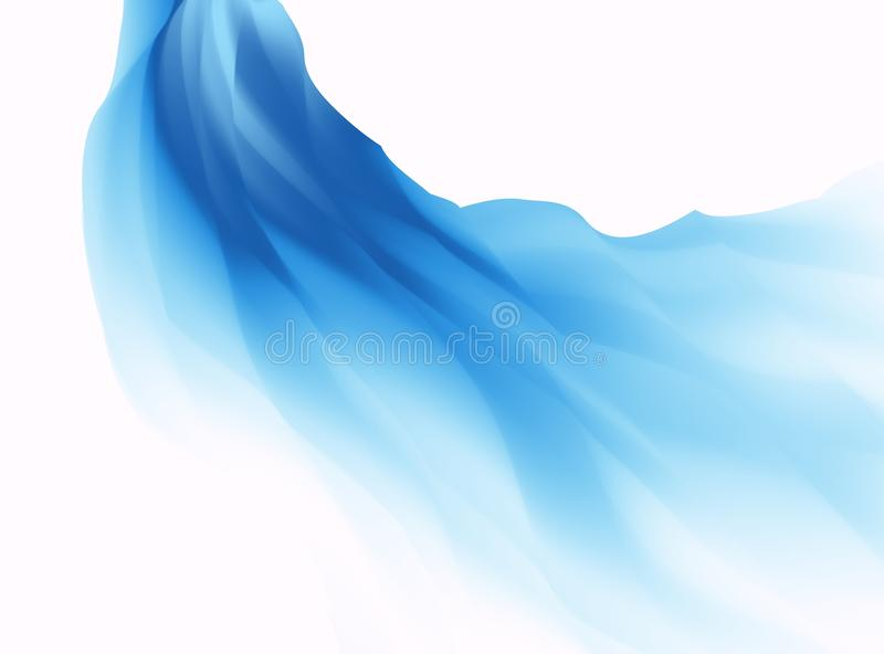 Blue abstract fractal background. Colorful waves like a veil or scarf on white backdrop. Bright modern digital art. Creative graph royalty free illustration