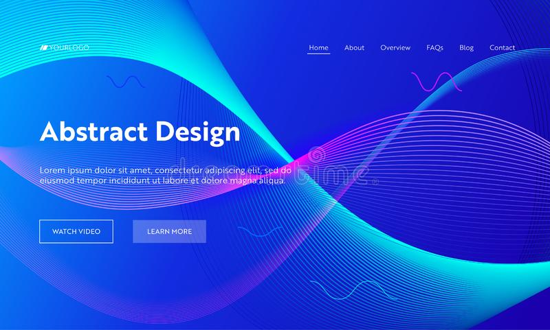 Blue Abstract Geometric Frequency Wave Shape Landing Page Background. Futuristic Digital Motion Pattern. Creative Neon stock illustration