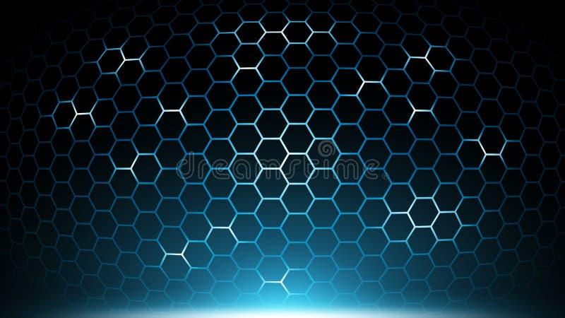 Blue abstract hexagon technology background,futuristic hexagon pattern tech,electronic innovative background,future background. Community, analyzing stock illustration