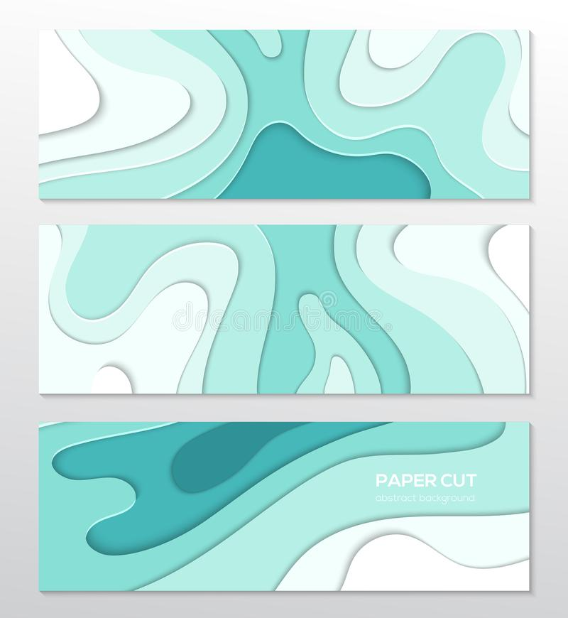 Blue abstract layout - set of paper cut vector posters royalty free illustration