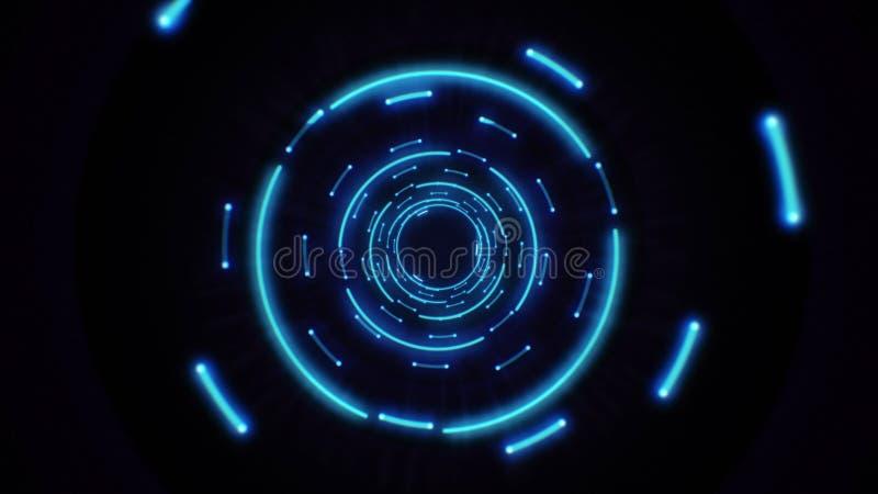 Blue abstract light circles seamless looping. royalty free illustration