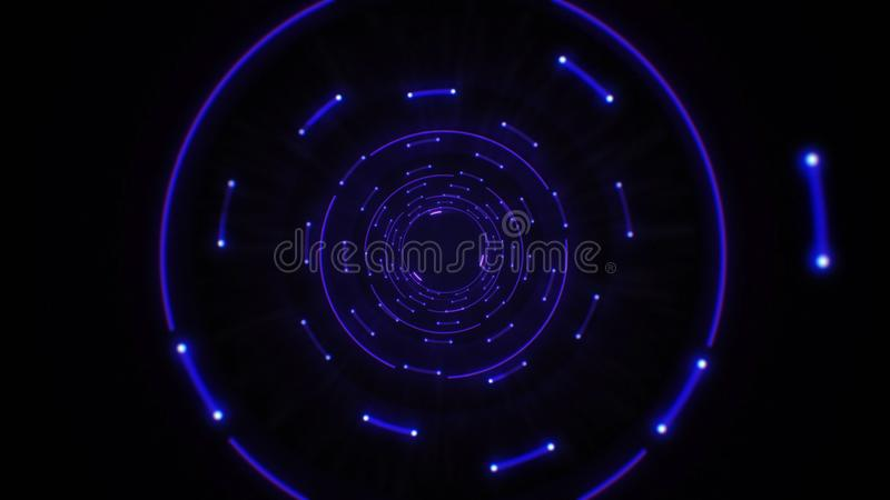 Blue abstract light circles seamless looping. Animation of an abstract background tunnel loop with shiny light circles. Futuristic illumination neon space stock illustration