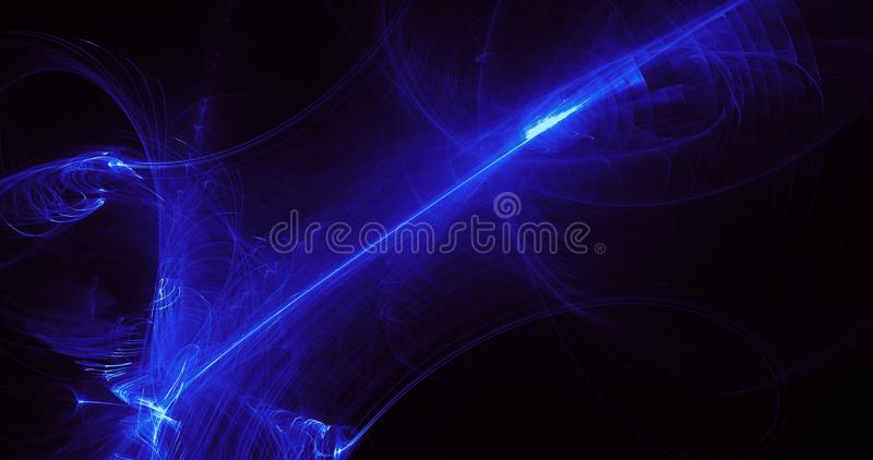 Blue Abstract Lines Curves Particles Background. Abstract Design In Blue Lines Curves Particles On Dark Background royalty free illustration