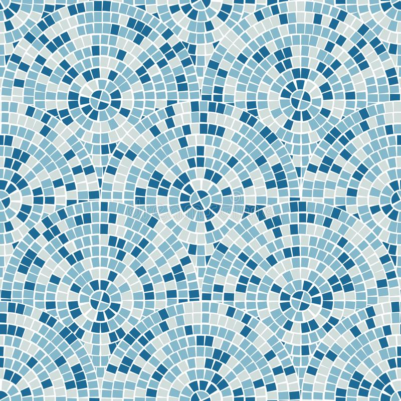 Blue abstract mosaic seamless pattern. Vector background. Endless texture. Ceramic tile fragments. Bright abstract mosaic seamless pattern. Vector background royalty free illustration