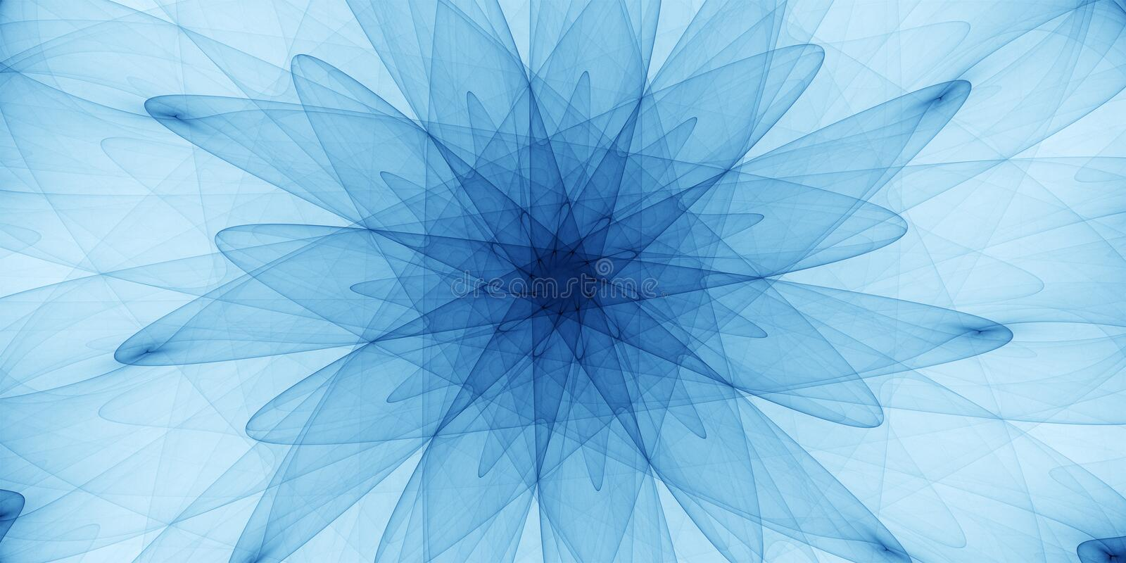 Blue abstract ornament. Detailed spiral drawing, art guilloche stock image