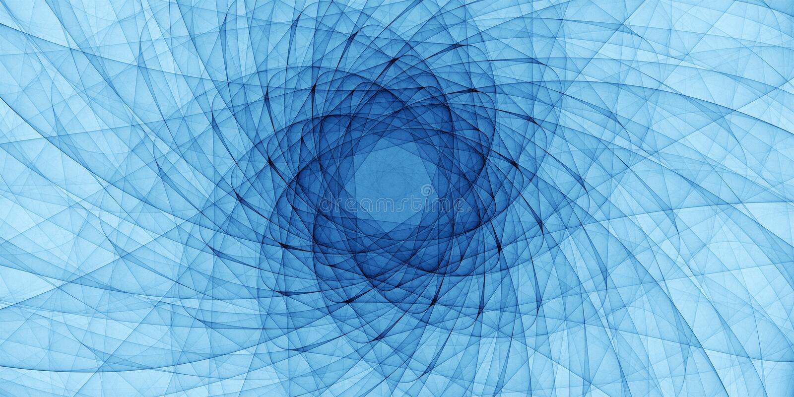 Blue abstract ornament. Detailed spiral drawing, art guilloche stock photo