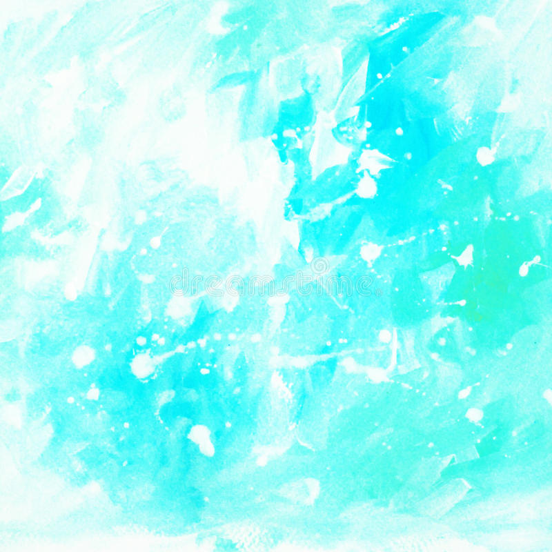 Blue abstract painting for interior with white blots and spots, royalty free illustration
