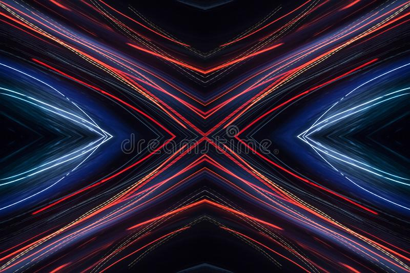 Blue abstract pattern. Colorful pattern of red and blue dynamic neon lines. Modern background. Art concept of lighting effects stock photography