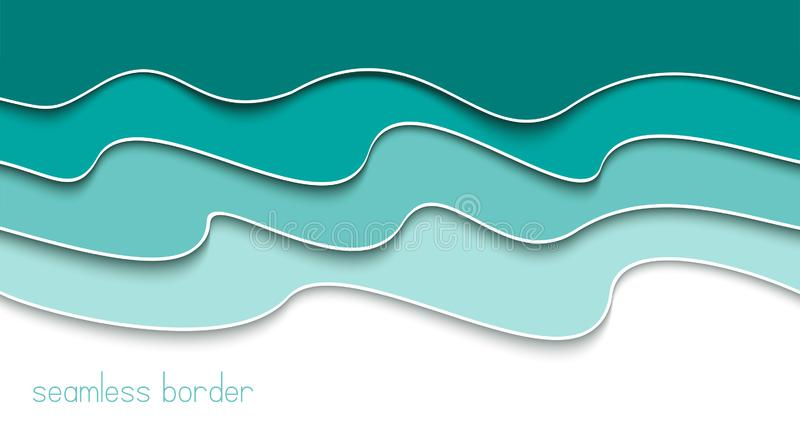 Blue abstract seamless wavy border. Banner template.  Monochrome background. Banner concept. Paper cut sea waves. Vector illustration royalty free illustration