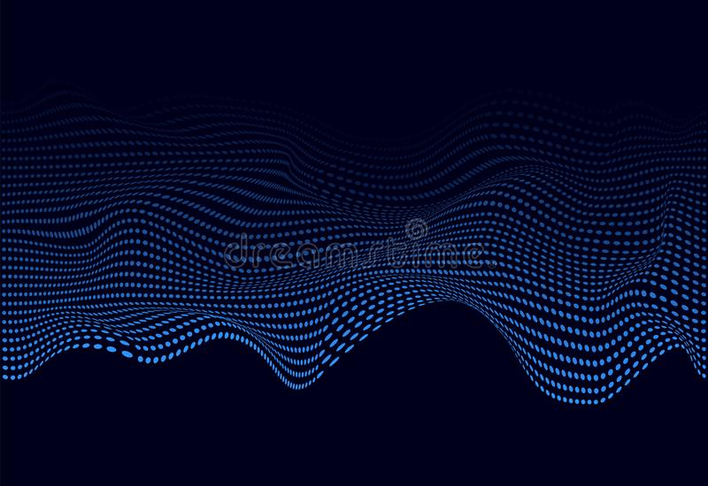 Blue abstract soundwave for web banner. 3D glowing musical wave of particles. Vector illustration eps10 vector illustration