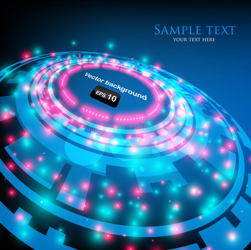 Blue abstract space background with glowing lights stock illustration