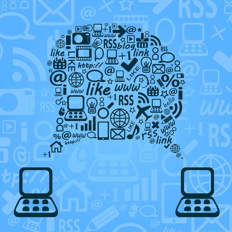 Blue Abstract Sspeech Cloud between Two Laptop Computer. royalty free illustration
