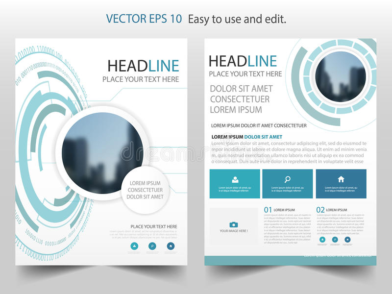 Blue abstract Technology Brochure annual report design template vector. Business Flyers infographic magazine poster. royalty free illustration