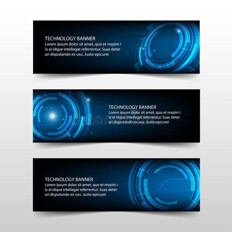 Blue abstract technology corporate business banner template, horizontal advertising business banner layout template flat design stock illustration
