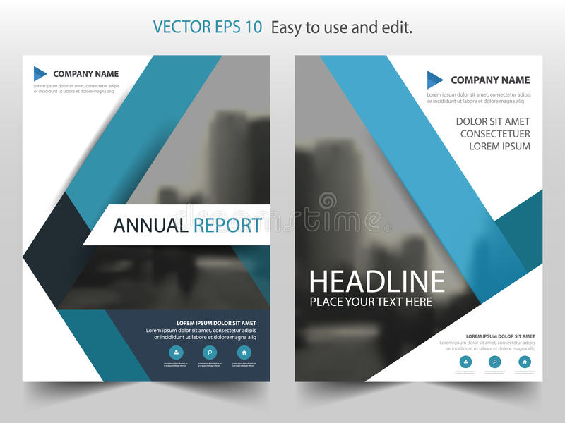 Blue Abstract Triangle Annual Report Brochure Design Template Vector