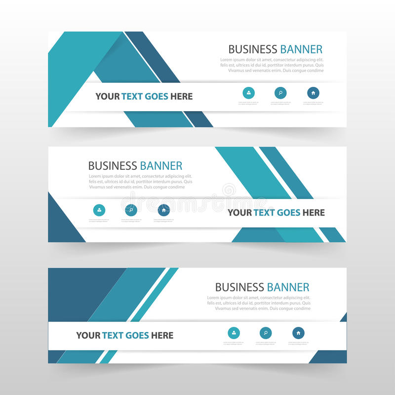 Blue abstract triangle corporate business banner template, horizontal advertising business banner layout template flat design set. Clean abstract cover header royalty free illustration