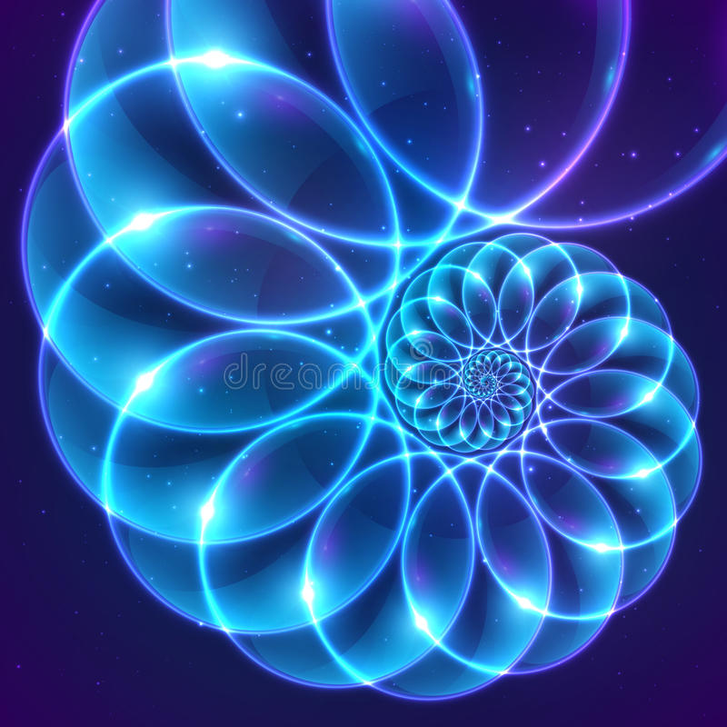 Blue abstract vector fractal cosmic spiral royalty free illustration
