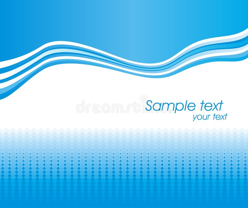 Blue abstract wave vector background. Dynamic wave background in blue and white royalty free illustration