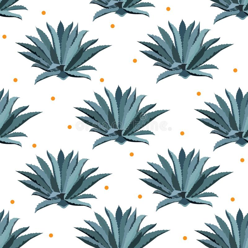 Blue agave vector seamless pattern Background for tequila packs, superfood with agave syrop, and other saftig lizenzfreie abbildung