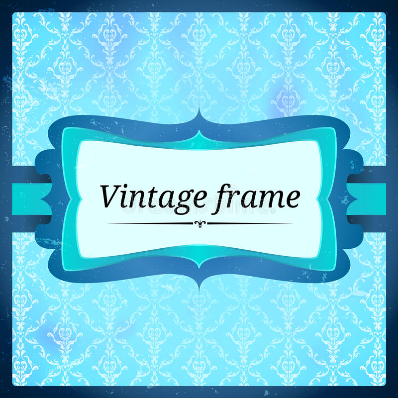 Blue Aged Frosty Frame Stock Photo