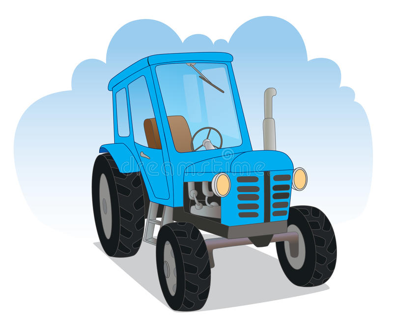Blue agricultural tractor vector illustration