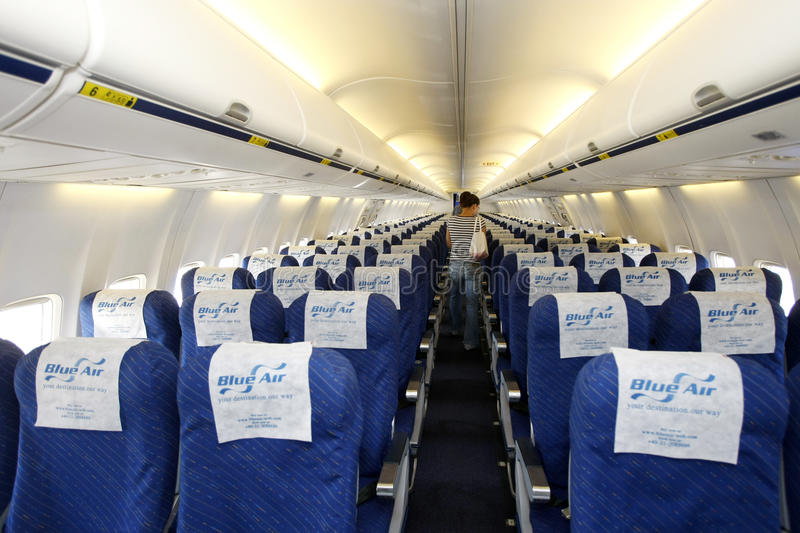 Download Blue Air airplane interior editorial stock photo. Image of board - 17770883