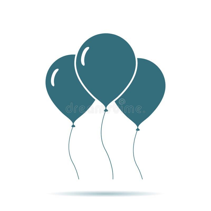 Blue Air Balloon l'icona isolata su fondo Segno piano semplice moderno di impulso Celebrazione, Internet illustrazione di stock