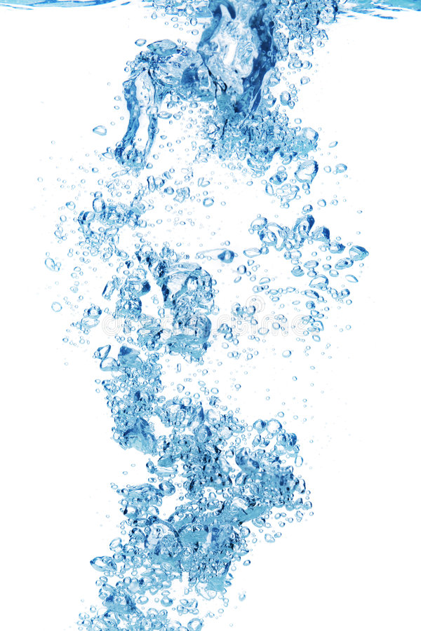 Blue air bubbles in water royalty free stock images