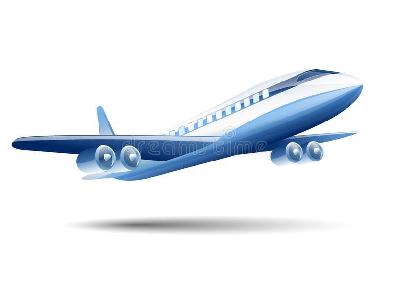Blue Airplane On A White Background Stock Vector ...