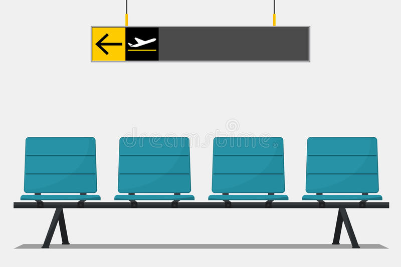 Blue airport seat in waiting area and wayfinding signage. Flat design. Vector Illustration vector illustration