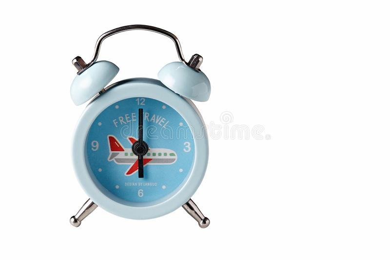 Blue Alarm clock. Retro style. stock photos