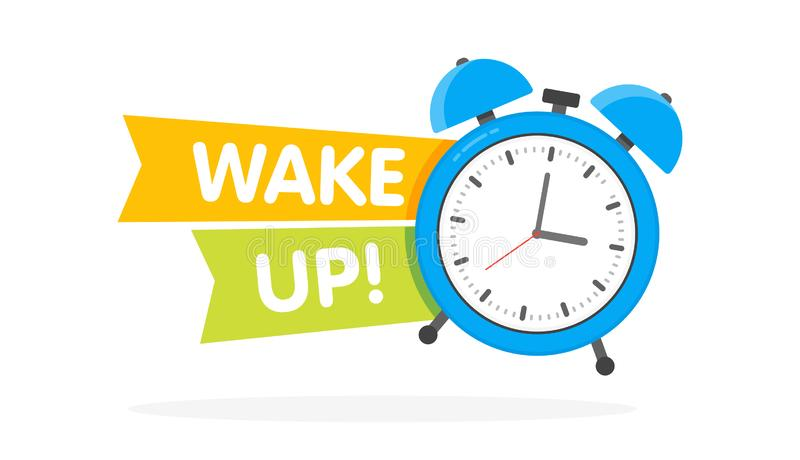 Blue Alarm clock with sign wake-up time isolated on background in flat style. Vector illustration stock illustration