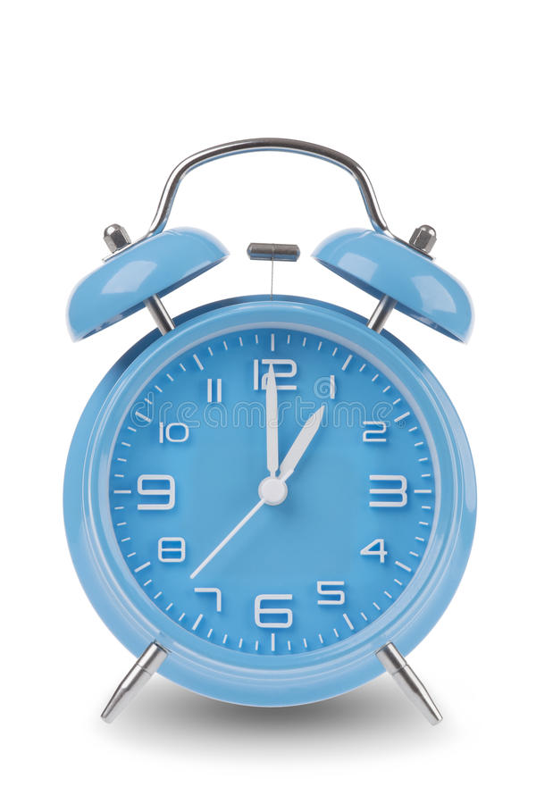 Free Blue Alarm Clock With The Hands At 1 Am Or Pm Isolated On A White Background Stock Photos - 46030943