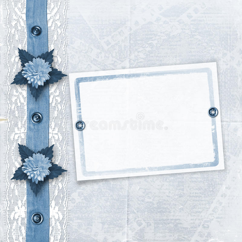 Download Blue Album For Photos With Lace Stock Illustration - Illustration: 13176335