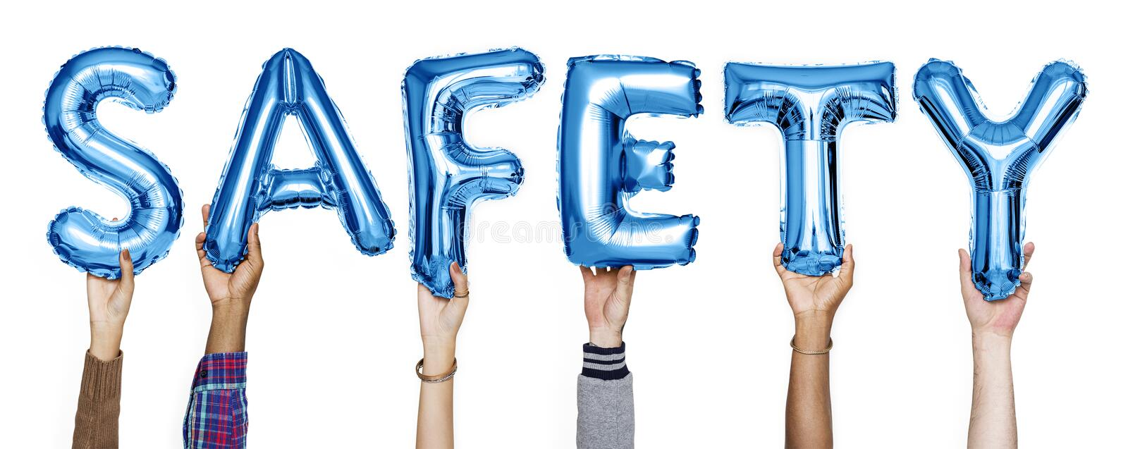 Blue alphabet balloons forming the word safety royalty free stock photography