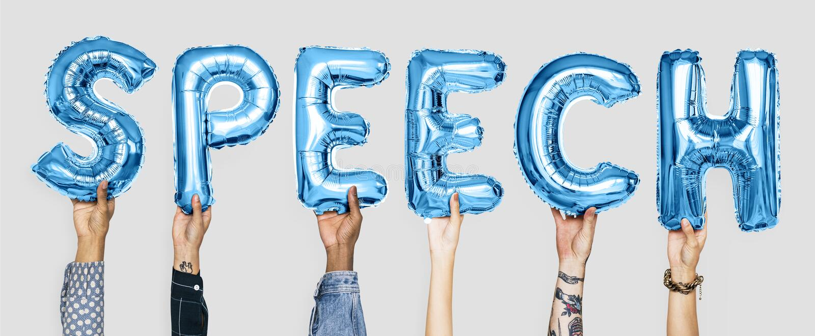 Blue alphabet balloons forming the word speech stock photography