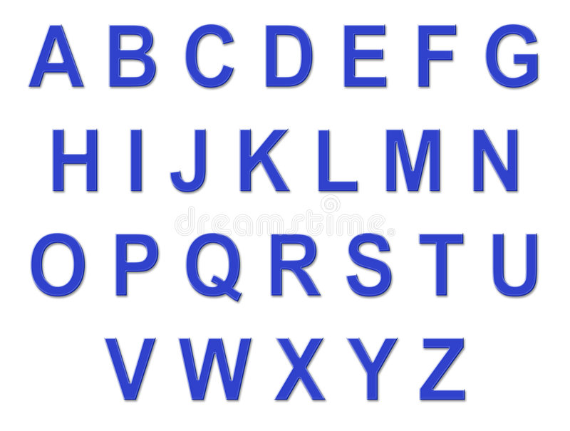 Blue Alphabet Font. Blue Mac style alphabet font with clipping path stock image
