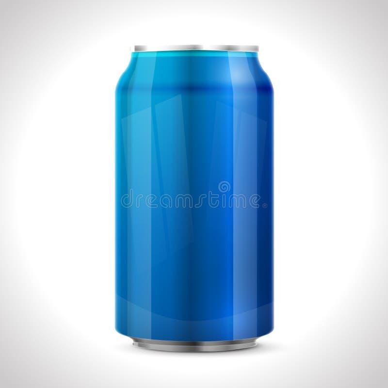 Blue aluminum can. stock illustration