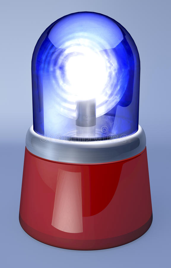 Blue Ambulance Light. Blue dome, red foot, clean 3d rendering on grey background vector illustration