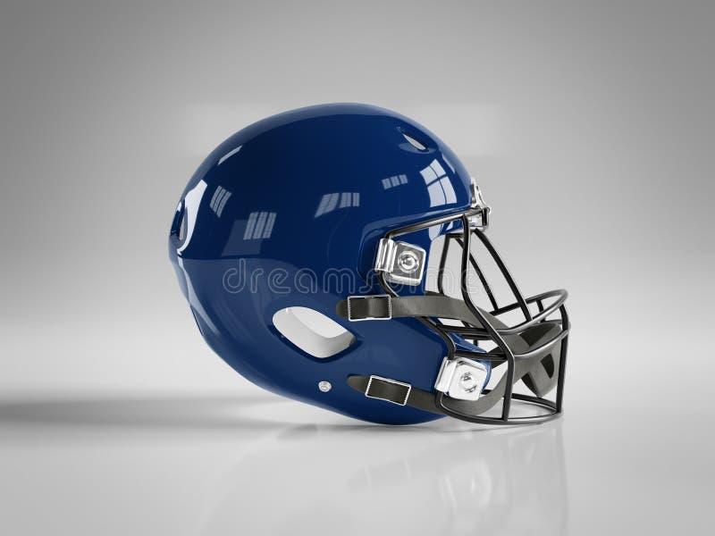 Blue American football helmet isolated on white mockup 3D rendering. Blue American football helmet isolated on white background mockup 3D rendering stock illustration