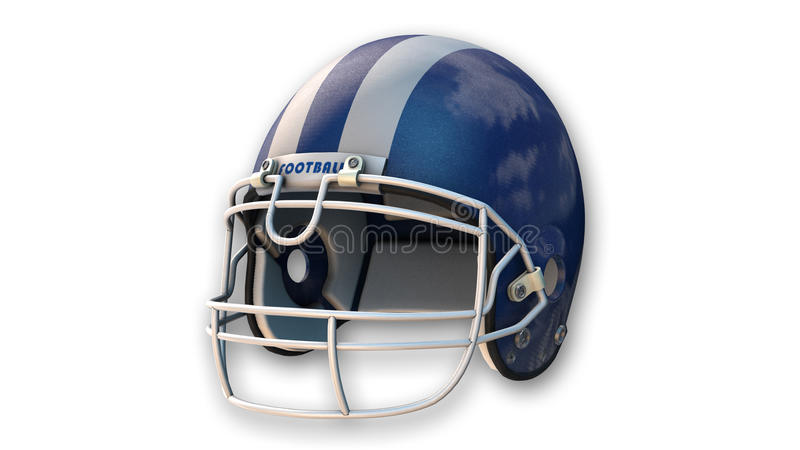 Blue american football helmet, sports equipment on white. Background stock illustration