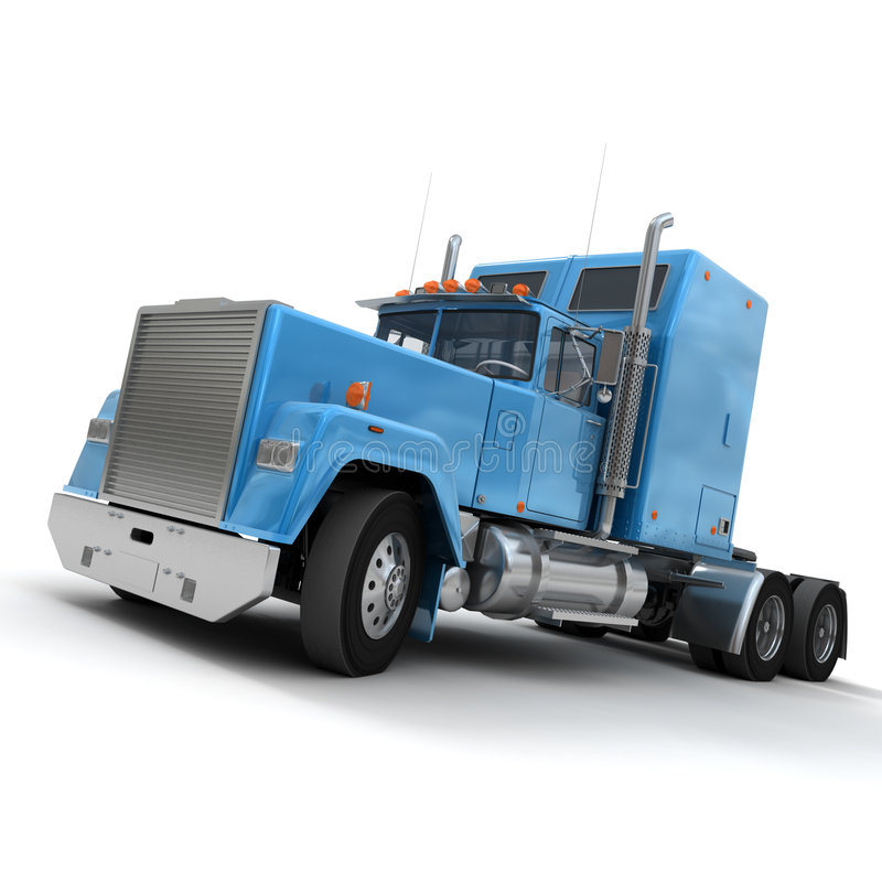 Free Blue American Trailer Truck Royalty Free Stock Image - 5610566