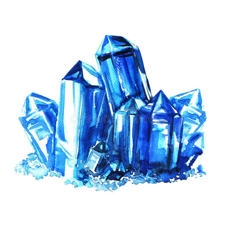 Blue amethyst crystals stones isolated stock illustration