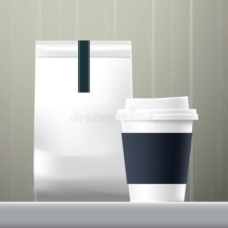Blue anchor coffee cup and food paper bag breakfast set. On wood background stock illustration