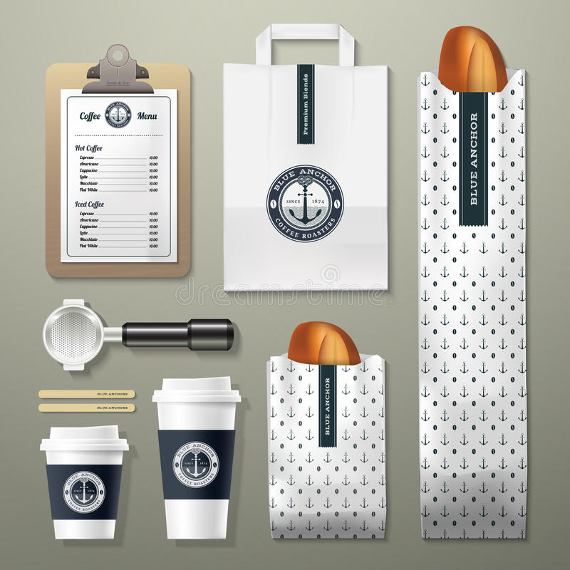 Blue anchor coffee shop corporate identity template design set. Take away mock up royalty free illustration