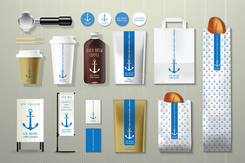 Blue anchors coffee shop corporate identity template design set. On wood background stock illustration